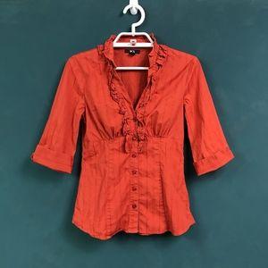 BCX Burnt Orange Ruffle Detail 1/2 Sleeve Blouse S